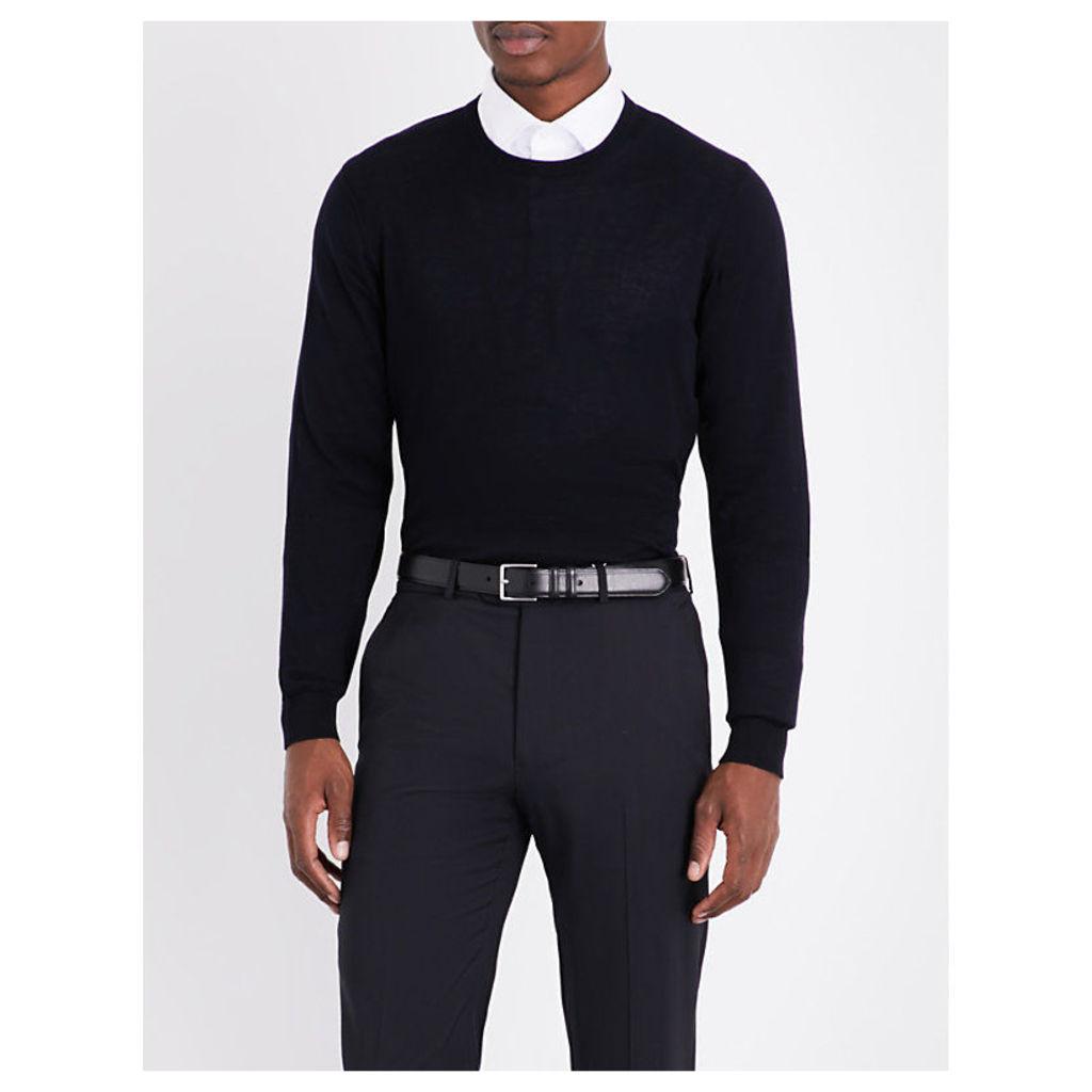 Armani Collezioni Crewneck knitted cotton jumper, Mens, Size: 08/02/1900, Navy