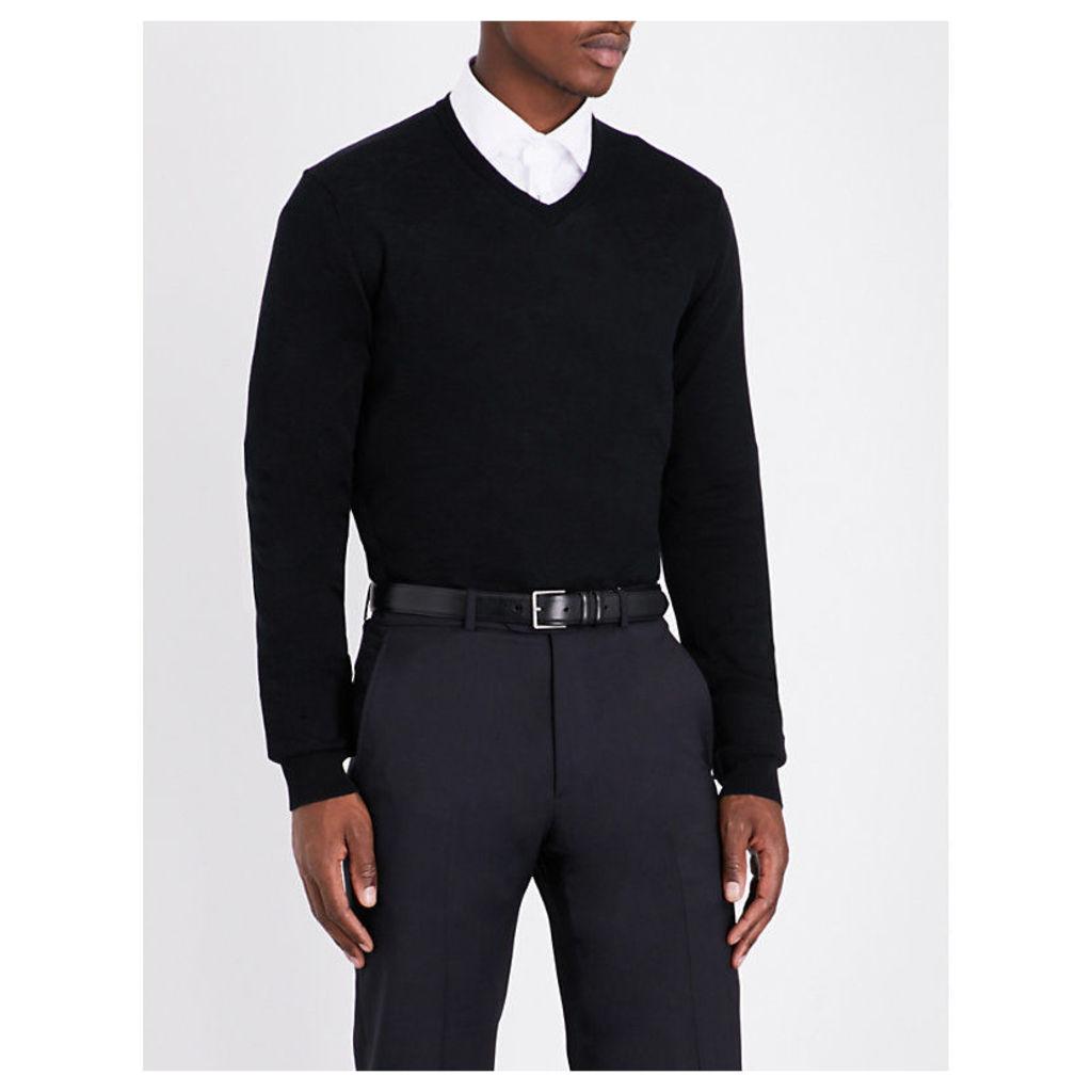 Armani Collezioni V-neck knitted cotton jumper, Mens, Size: 14/02/1900, Black