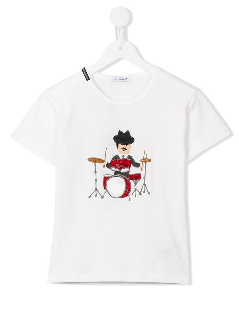 Dolce & Gabbana Kids Sicilian drummer patch T-shirt, Toddler Boy's, Size: 5 yrs, White
