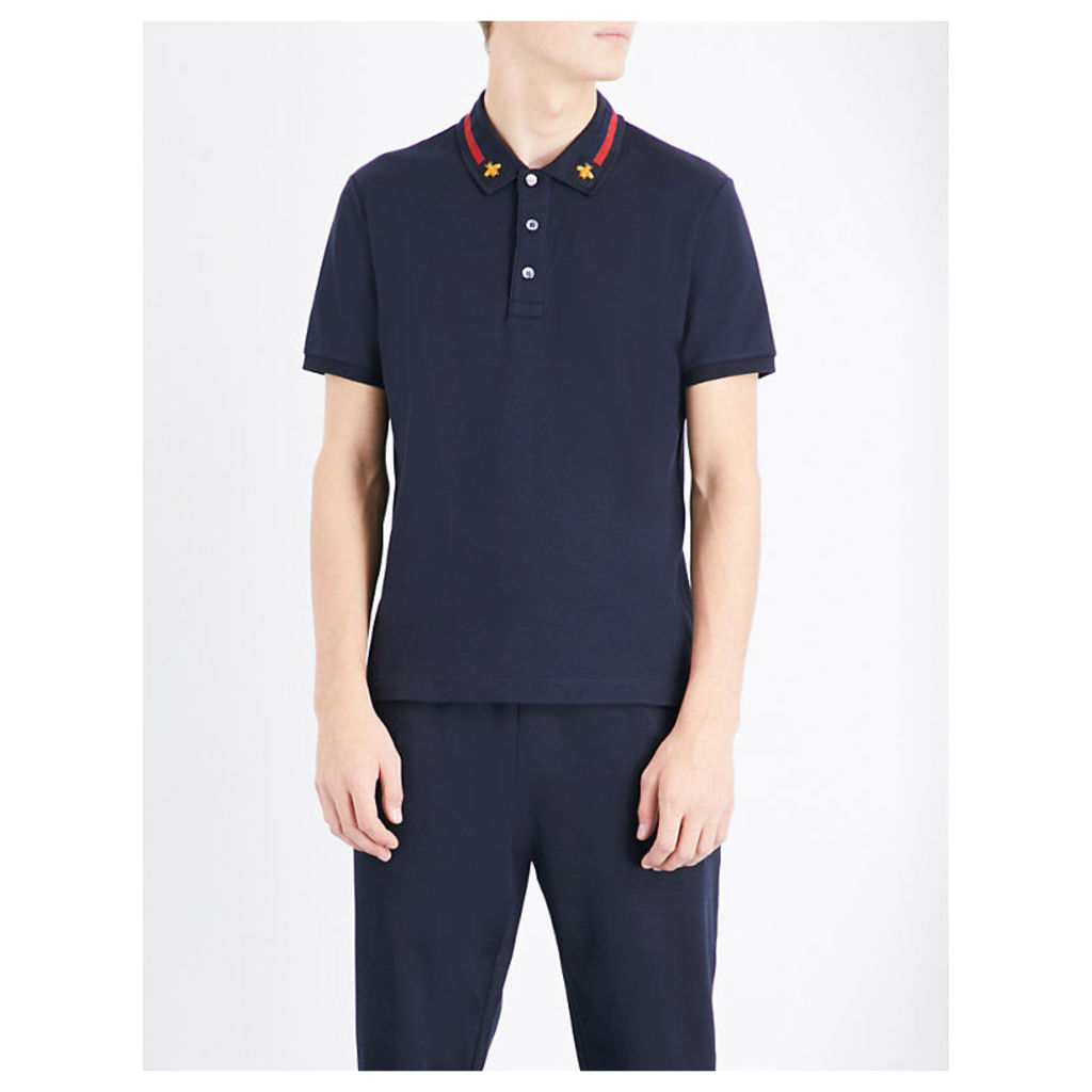 Gucci Bee-appliqué stretch-cotton polo shirt, Mens, Size: M, Ink red zest