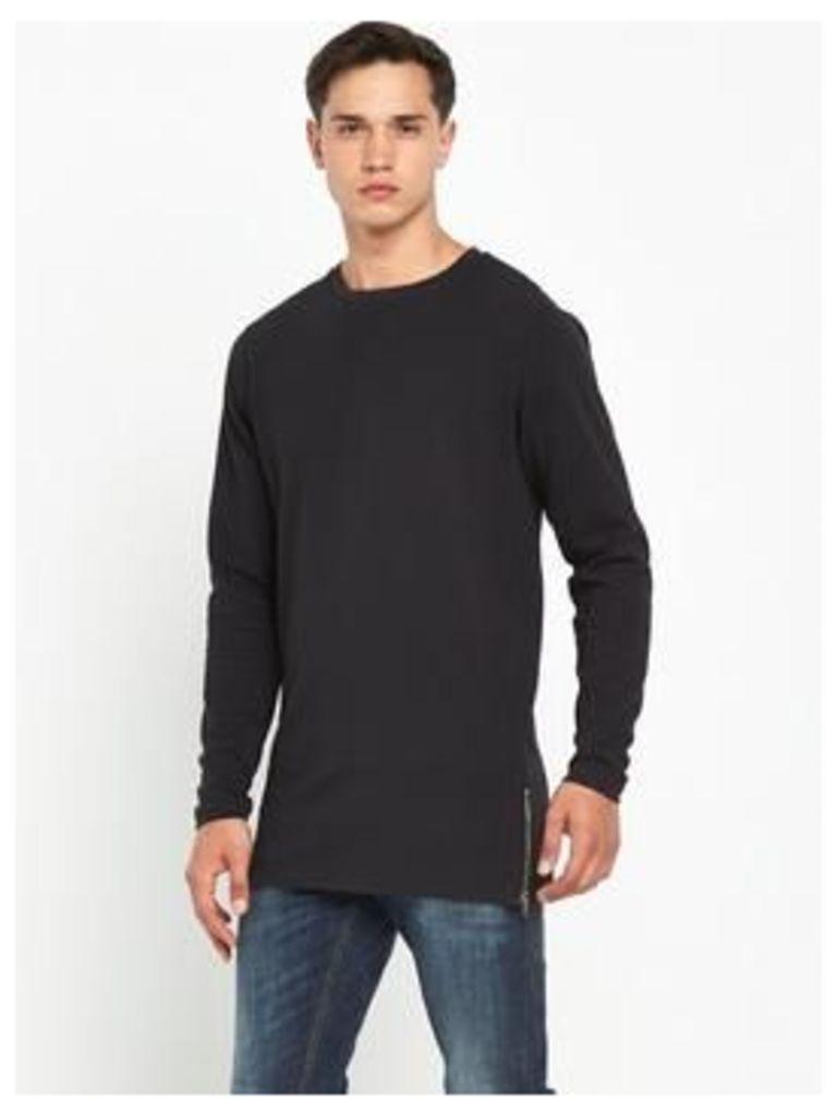 Bellfield Longline Zip Ls Tshirt