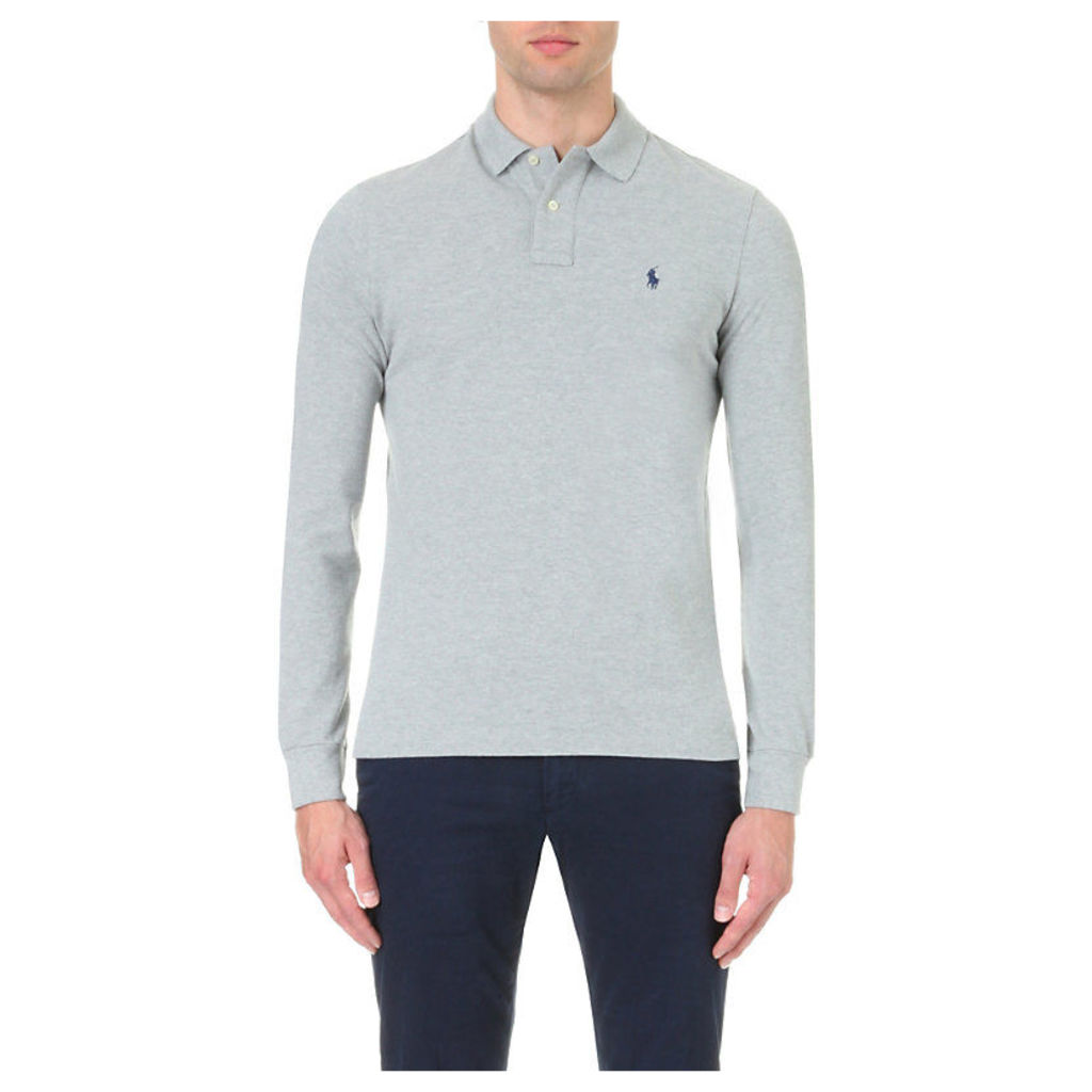 Polo Ralph Lauren Custom-fit cotton-piqué polo shirt, Mens, Size: Small, Andover hthr