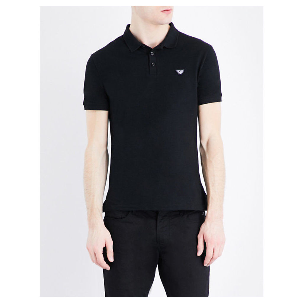 Armani Jeans Logo-embroidered cotton-piqué polo shirt, Mens, Size: L, Black