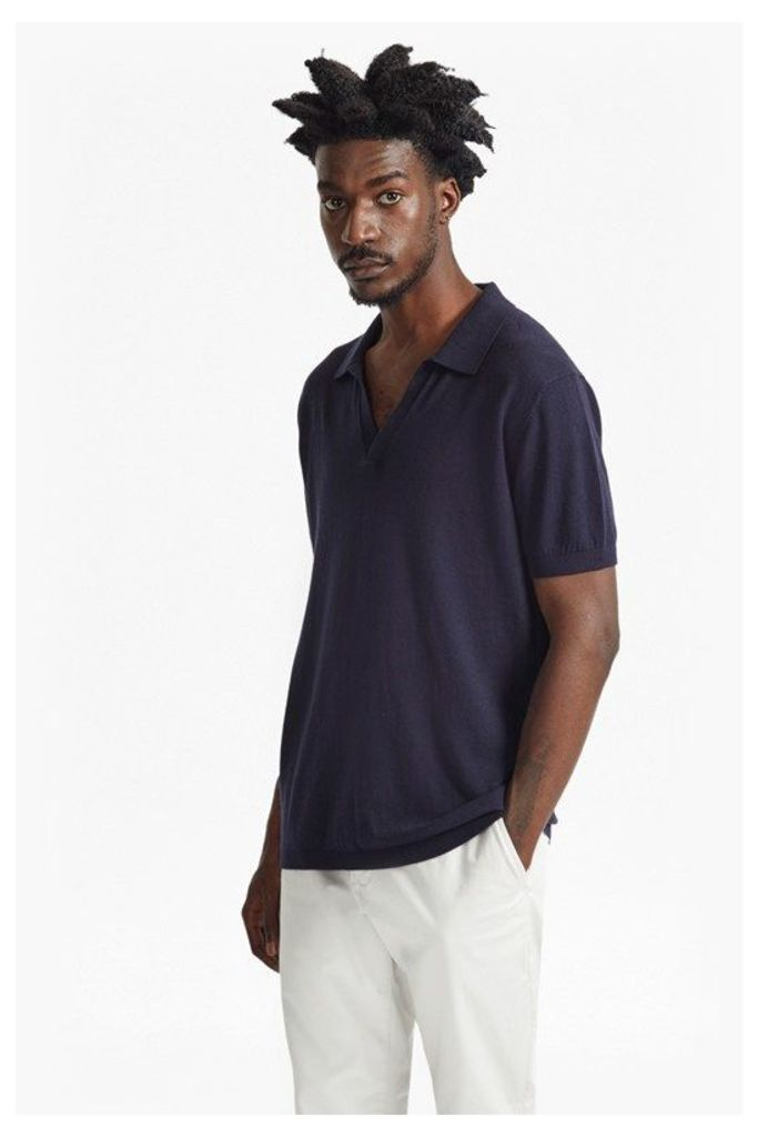 OPEN COLLAR KNITTED POLO SHIRT - Marine Blue