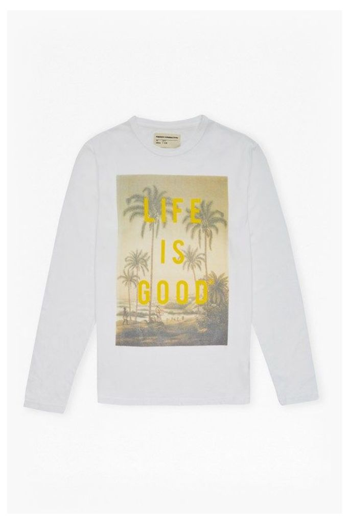 LIFE IS GOOD LONG SLEEVE TOP - White