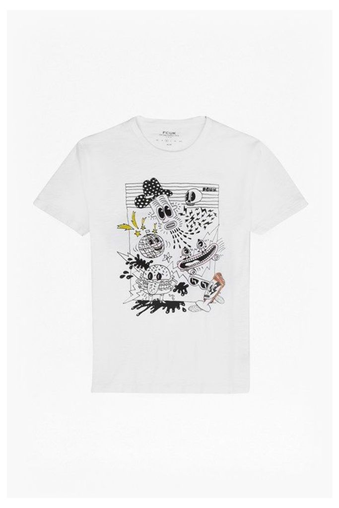 DOODLE GRAPHIC PRINT T-SHIRT - White