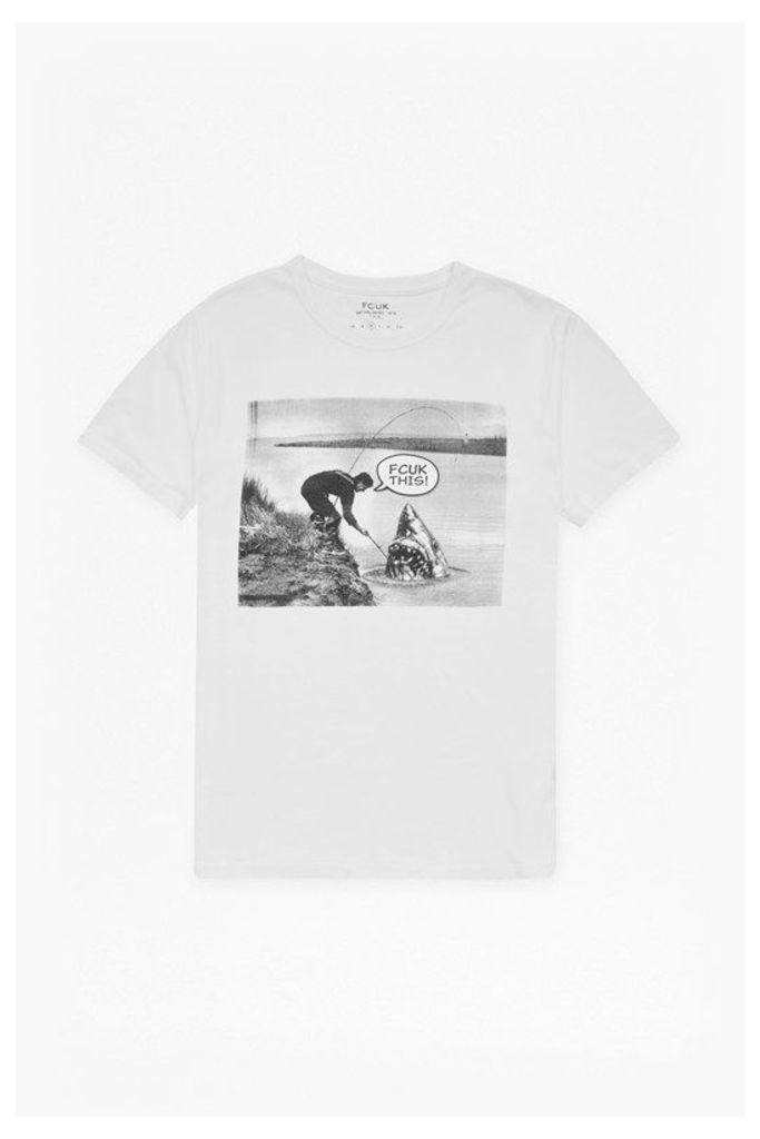 CATCH OF THE DAY GRAPHIC PRINT T-SHIRT - White