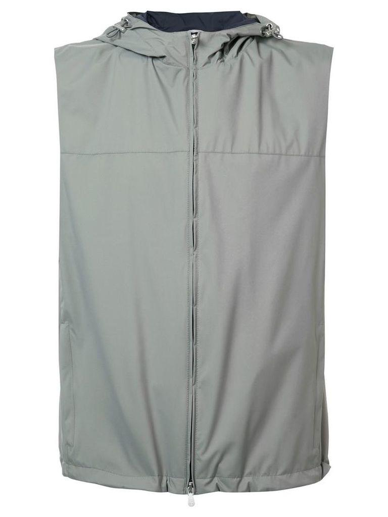 Brunello Cucinelli hooded zipped gilet, Men's, Size: Large, Grey