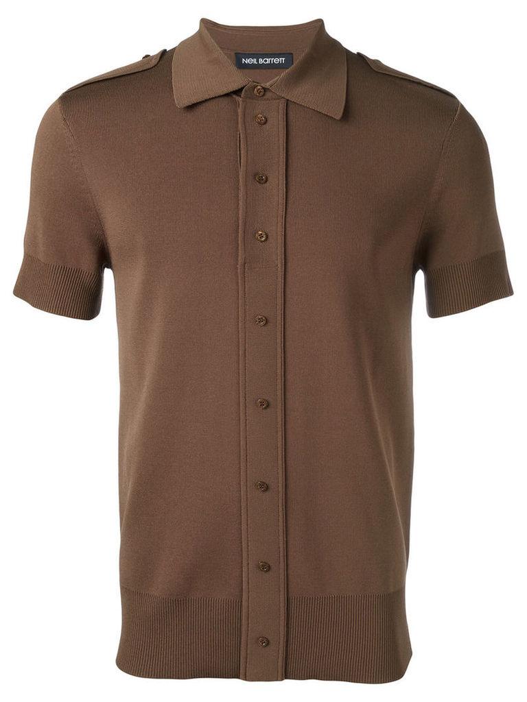 Neil Barrett buttoned shoulder polo shirt, Men's, Size: Small, Brown