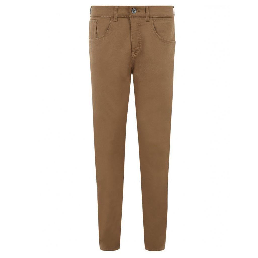 Men's Blue Inc Tan Stretch Skinny 5 Pocket Twill Jeans, Brown