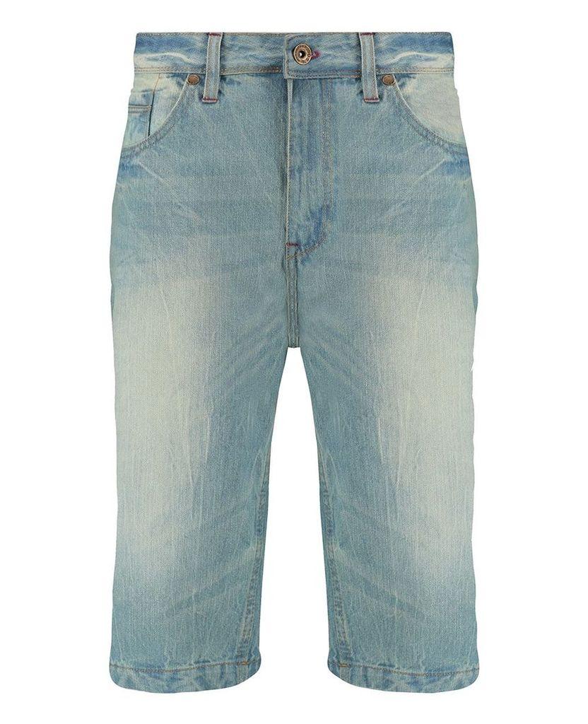 Men's Blue Inc Light Stone 5 Pocket Denim Short, Blue