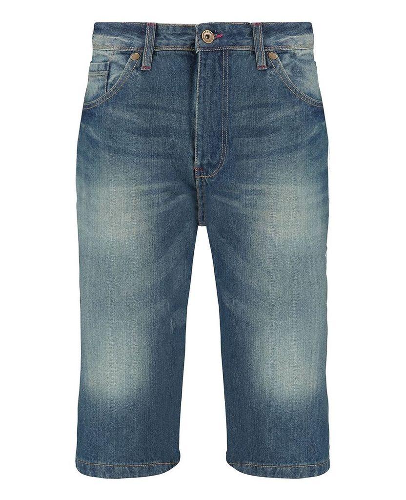 Men's Blue Inc Mid Stone 5 Pocket Denim Short, Blue