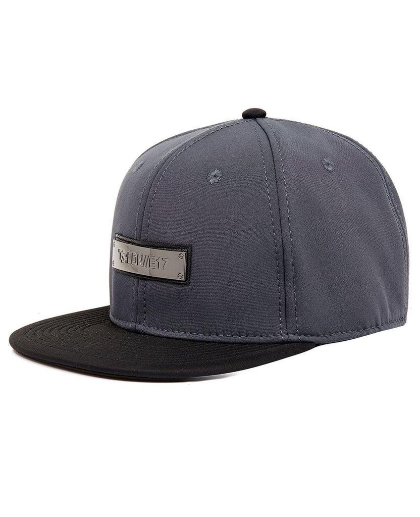 Men's Blue Inc Dark Grey Metal Badge Flat Peak Cap, Grey