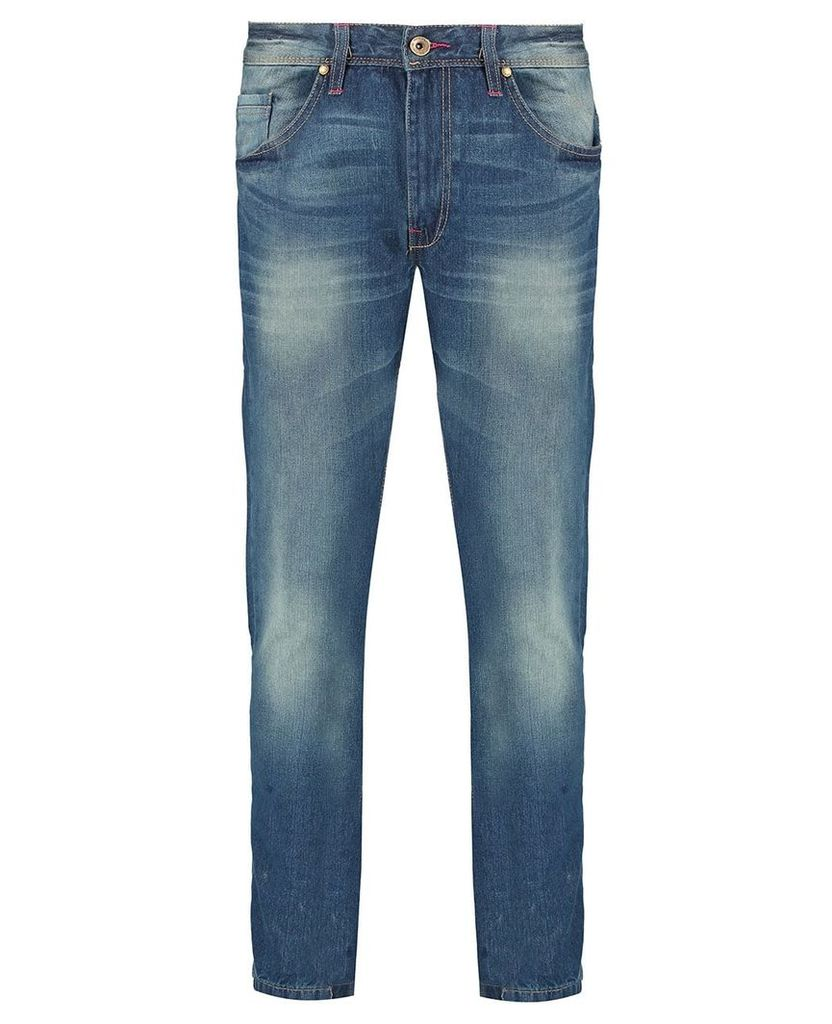 Men's Blue Inc Dark Stone 5 Pocket Straight Fit Denim Jeans, Blue