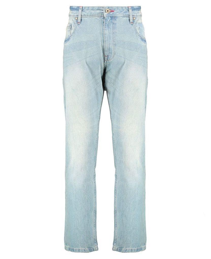 Men's Blue Inc Light Stone Boot Cut 5 Pocket Denim, Blue