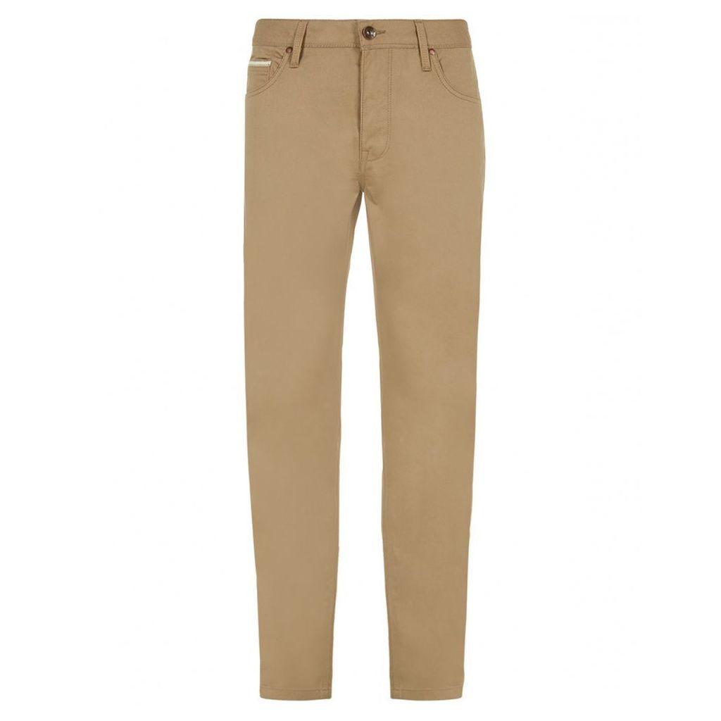 Men's Blue Inc Tan Straight Fit 5 Pocket Twill Jeans, Brown