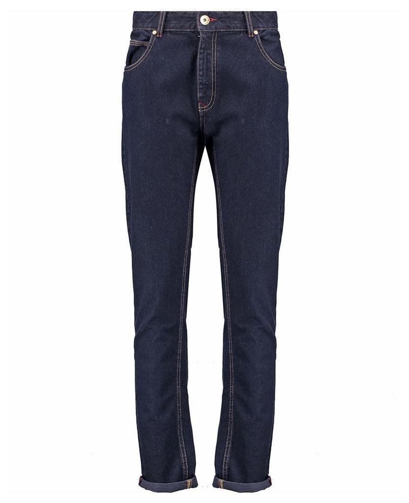 Men's Blue Inc Navy Blue Raw Rinse Wash Skinny Fit 5 Pocket Denim, Blue