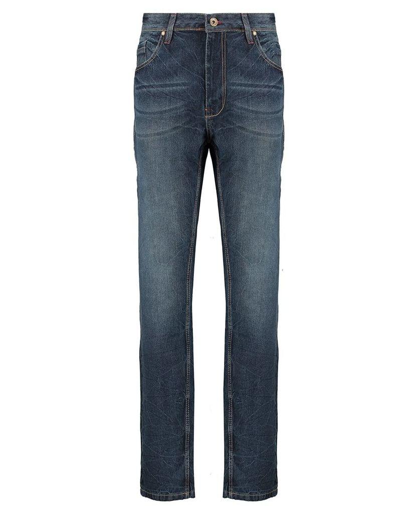 Men's Blue Inc Mid Stone 5 Pocket Loose Fit Denim Jeans, Blue