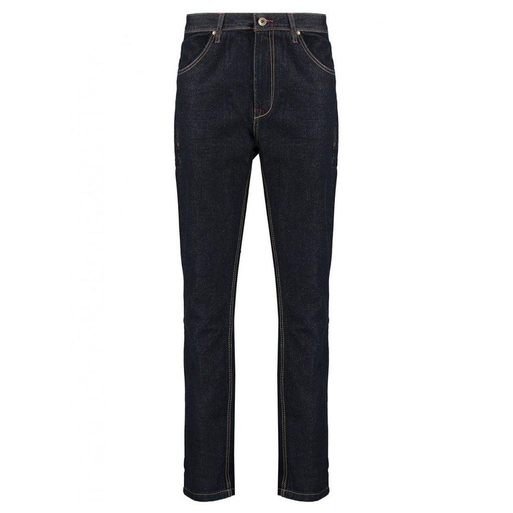 Men's Blue Inc Raw Denim 5 Pocket Loose Fit Jeans, Blue