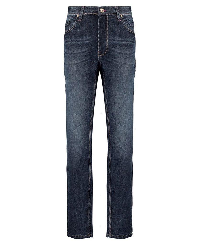 Men's Blue Inc Dark Stone 5 Pocket Loose Fit Denim Jeans, Blue