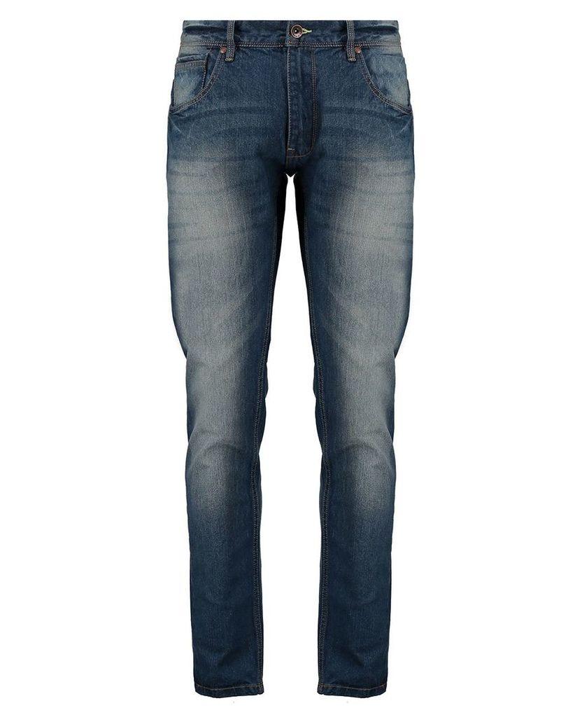 Men's Blue Inc Mid Stone Straight Fit 5 Pocket Denim Jeans, Blue