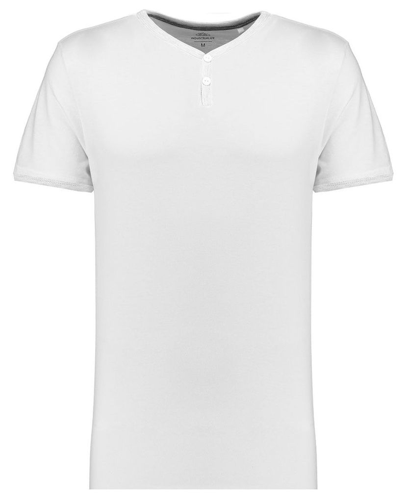 Men's Blue Inc White Everyday Casual And Comfortable Grandad T-shirt, White
