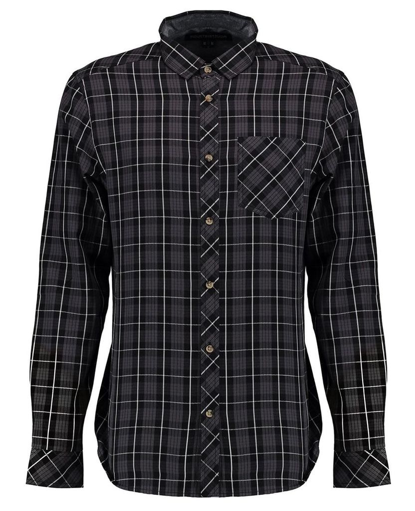 Men's Blue Inc Black Long Sleeve Check Shirt, Black