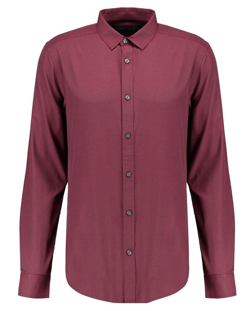 Men's Blue Inc Burgundy Long Sleeve Basic Formal Shirt, Red
