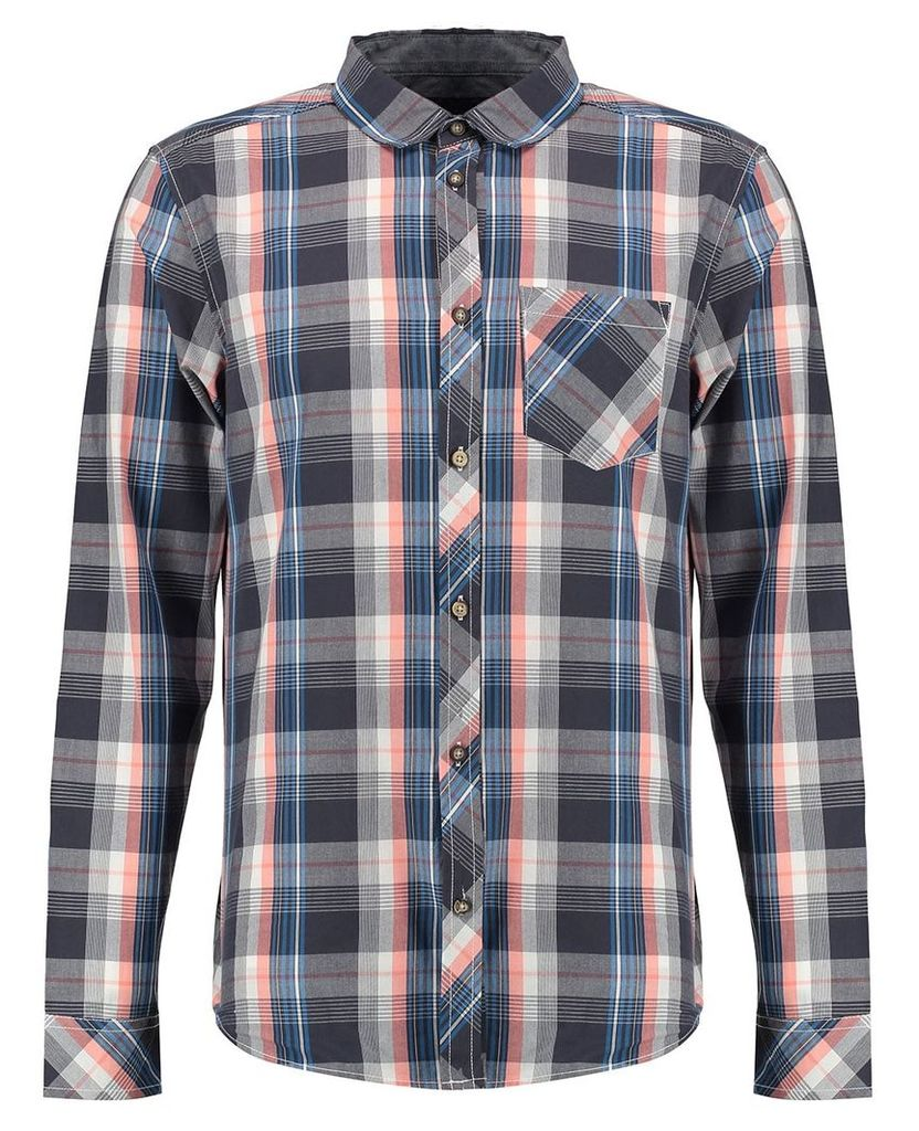 Men's Blue Inc Coral and Grey Check Shirt, Pink