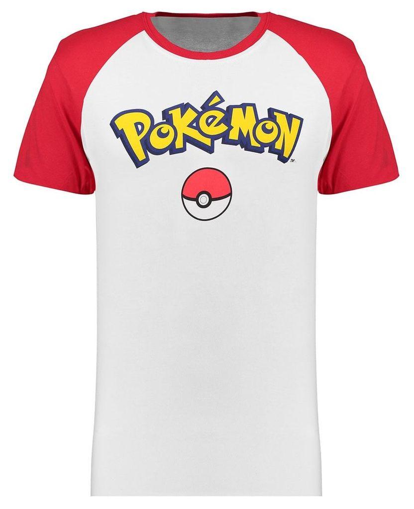 Men's Blue Inc White Pokemon Logo Contrast T-shirt, White
