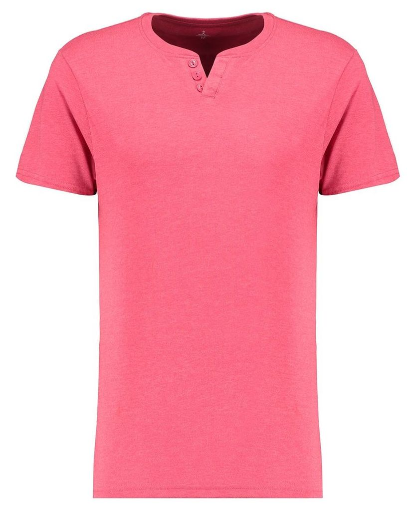 Men's Blue Inc Red Everyday Basic Notch Neck T-shirt, Red