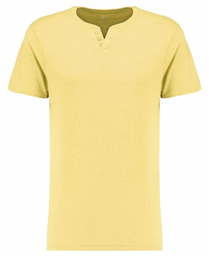 Men's Blue Inc Yellow Everyday Basic Notch Neck T-shirt, Yellow