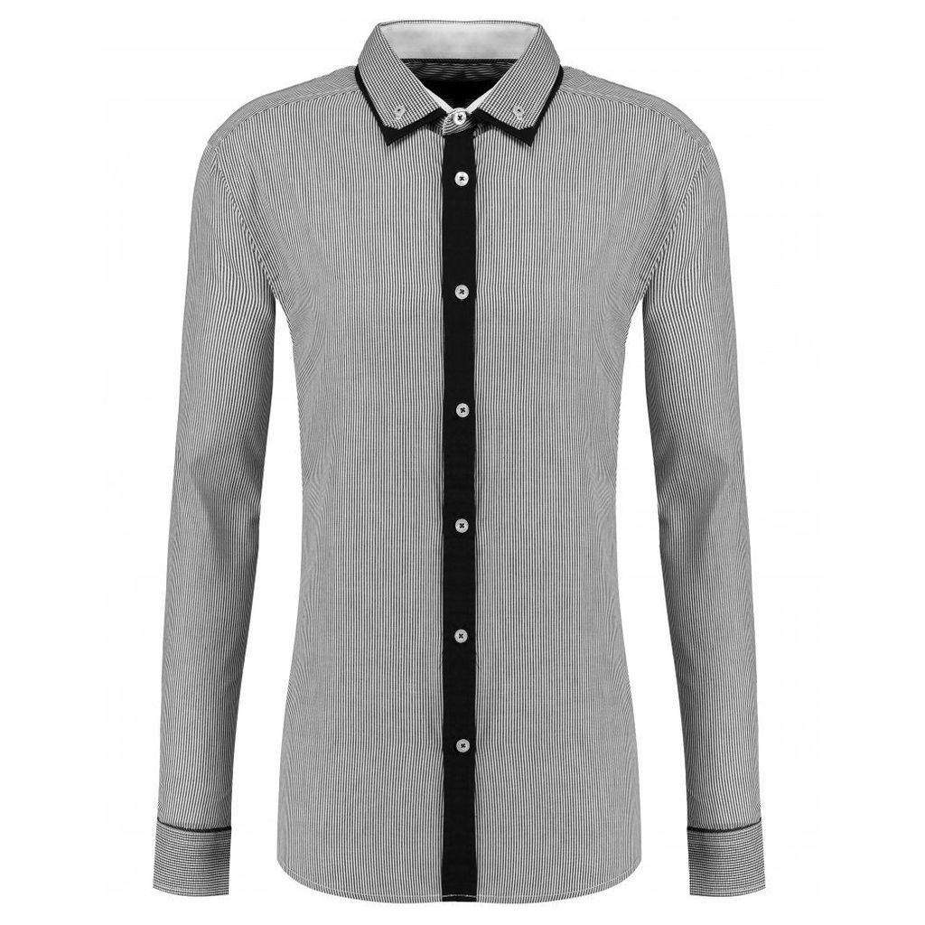 Men's Blue Inc Black Stripe Double Collar Tech Shirt, Black
