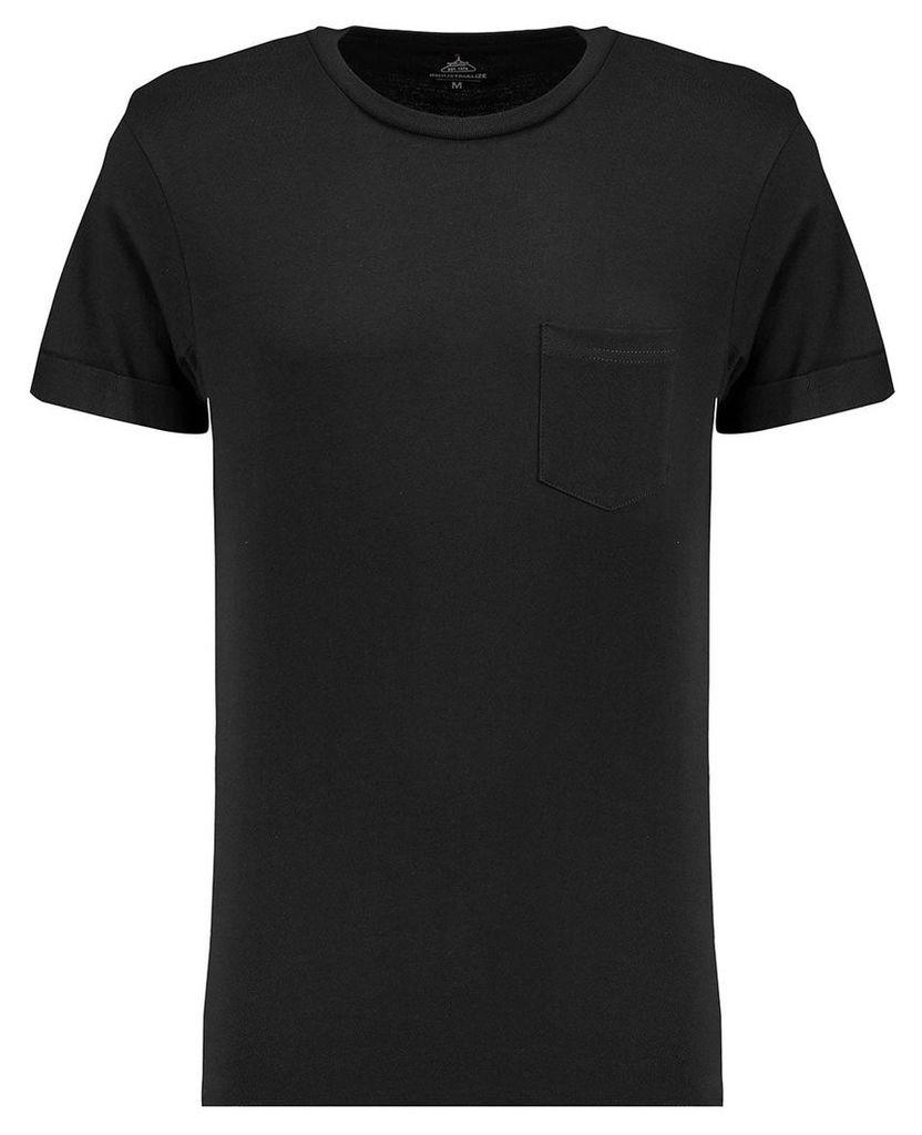 Men's Blue Inc Black Basic Pocket Roll Sleeve Crew T-shirt, Black