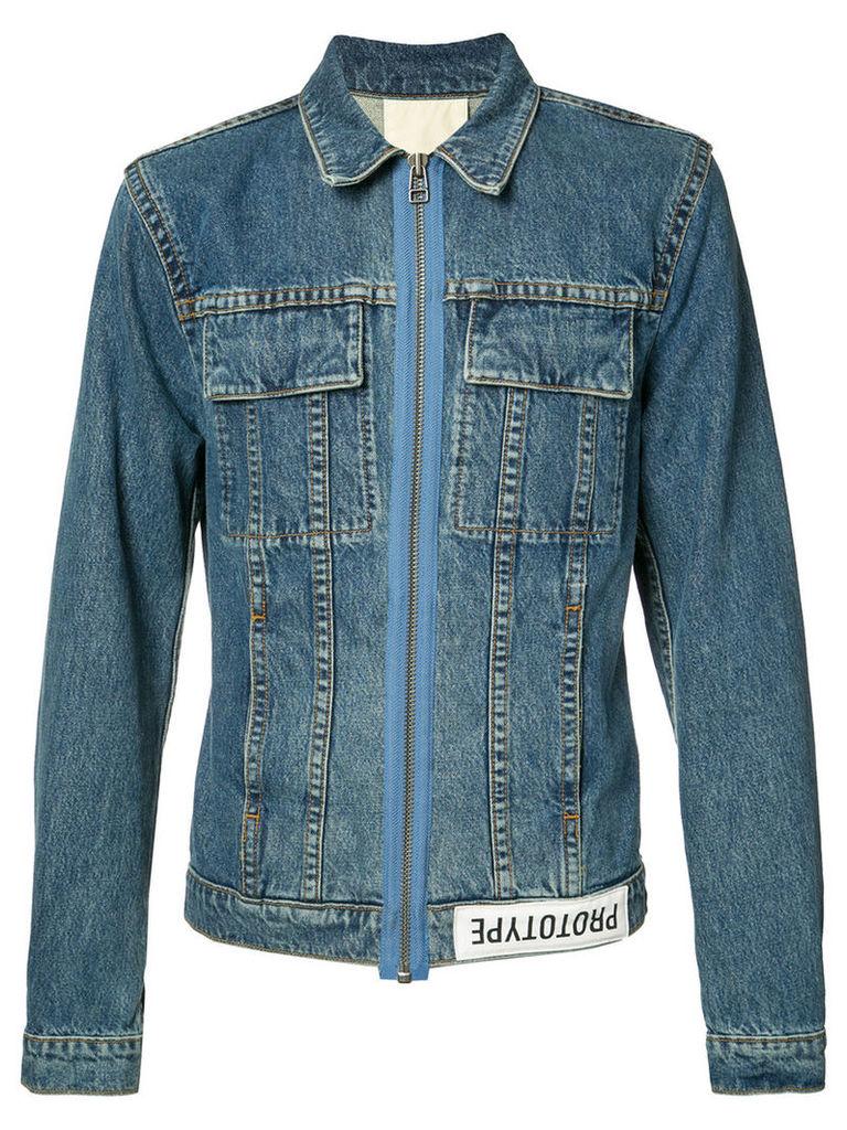 Helmut Lang back print denim jacket, Men's, Size: XL, Blue
