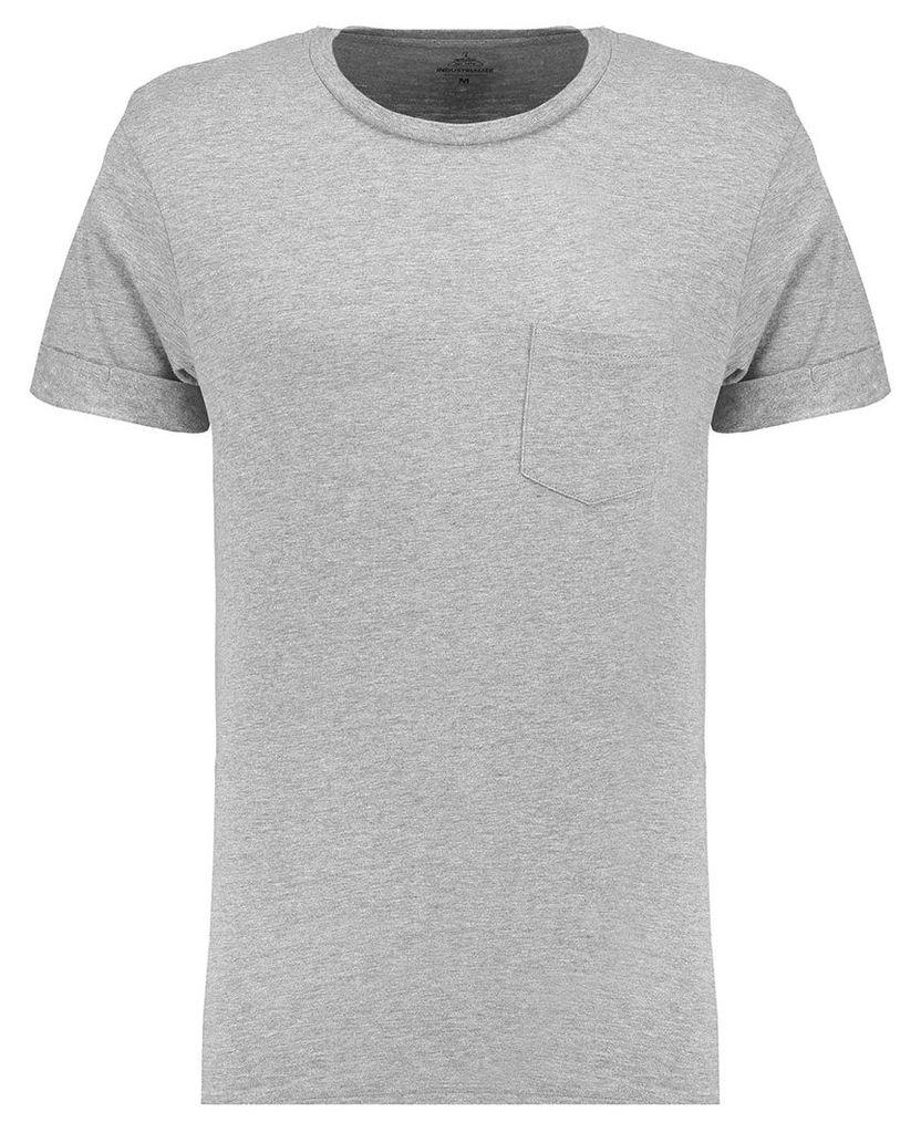 Men's Blue Inc Light Grey Marl Basic Pocket Roll Sleeve Crew T-shirt, Grey