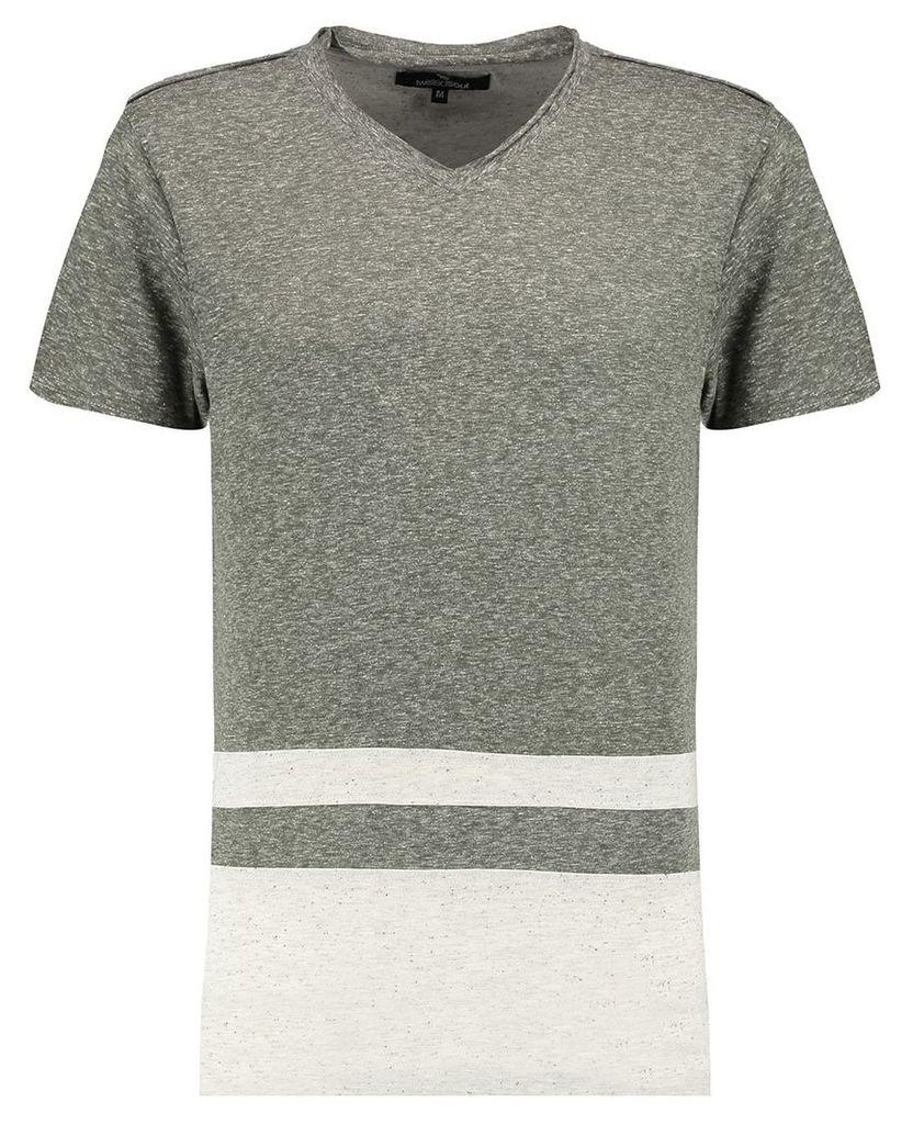 Men's Blue Inc Khaki Long Line V Neck Panel T-shirt, Khaki