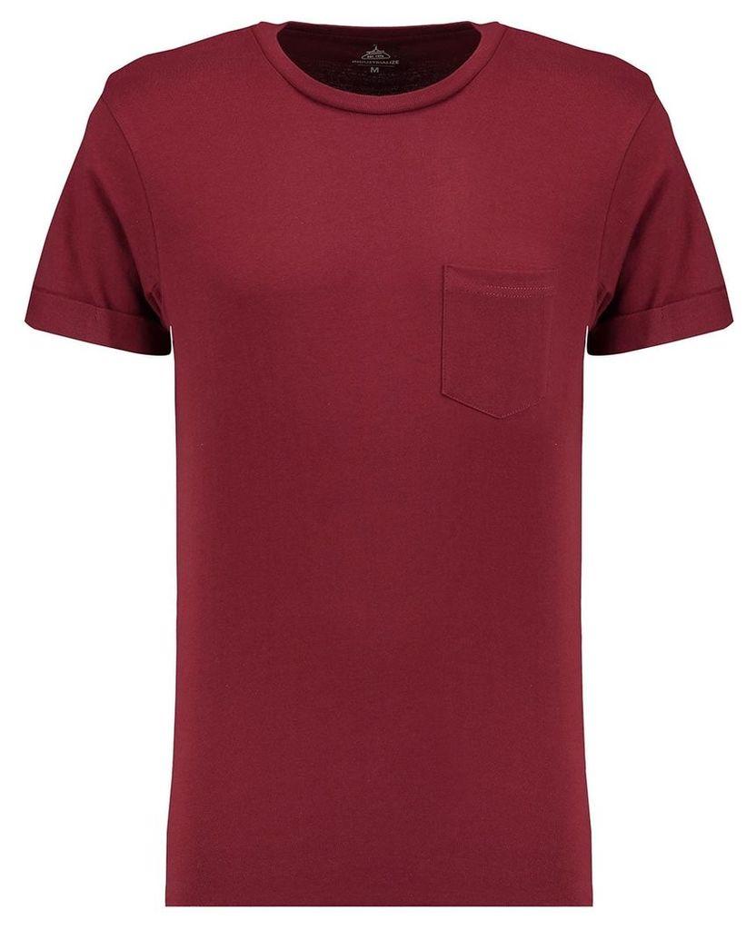Men's Blue Inc Maroon Basic Pocket Roll Sleeve Crew T-shirt, Red