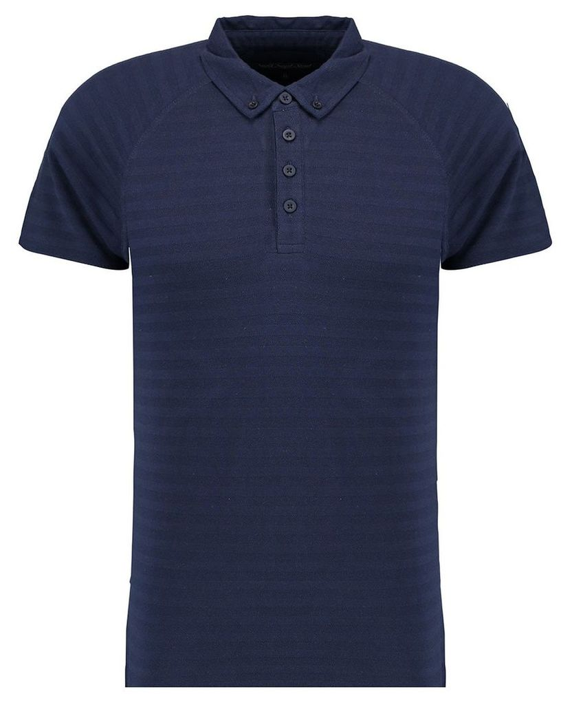 Men's Blue Inc Navy Blue Soft All Over Textured Striped Polo, Blue