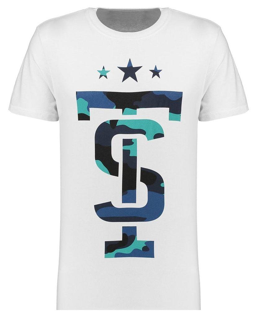 Men's Blue Inc White Short Sleeve Camo Icon T Shirt, White