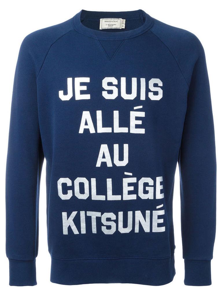 Maison Kitsuné 'je suis' print sweatshirt, Men's, Size: XL, Blue