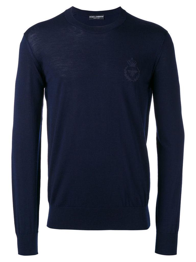Dolce & Gabbana bee & crown embroidered jumper, Men's, Size: 48, Blue