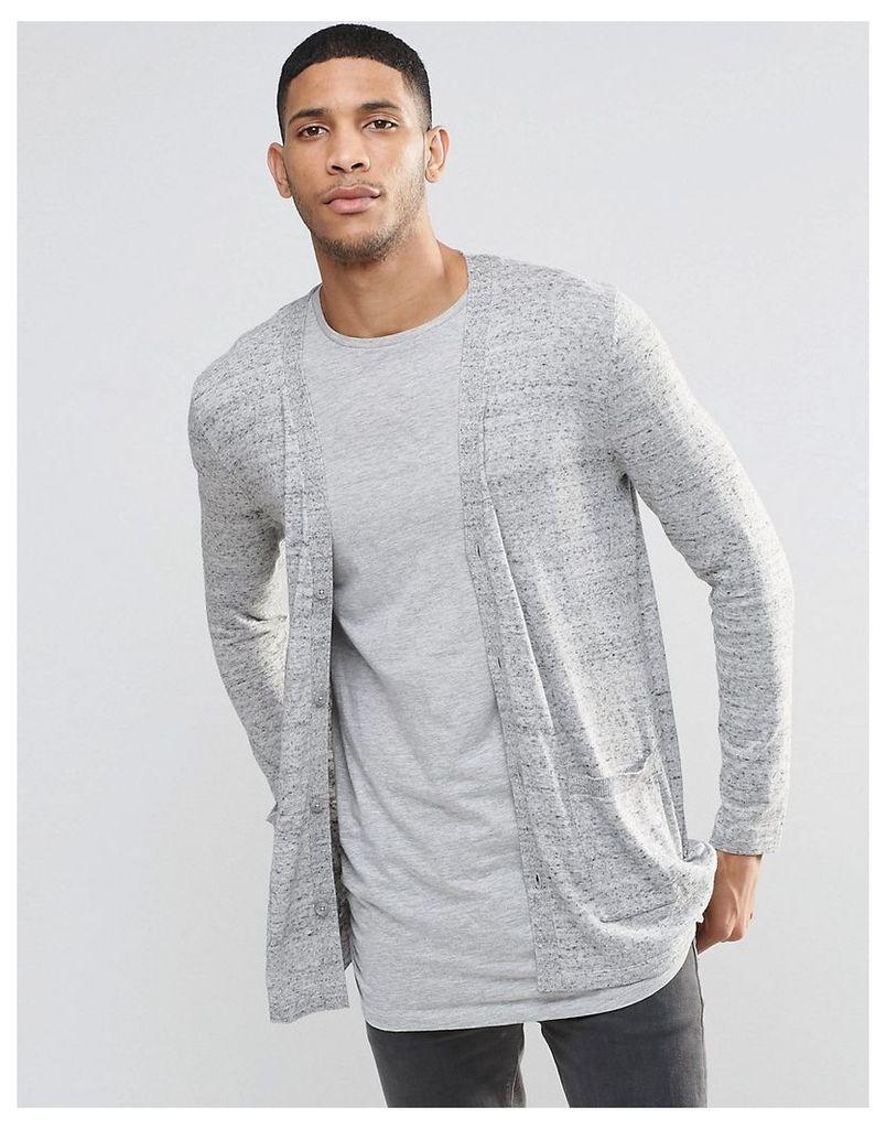 ASOS Longline Cardigan In Grey - Grey