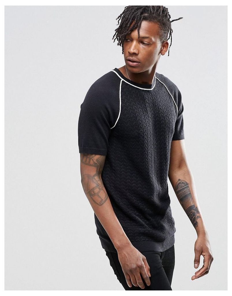 ASOS Knitted Textured T-Shirt in Black - Black