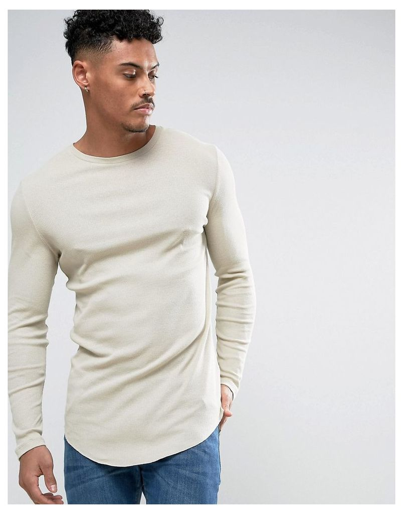 ASOS Super Longline Muscle Long Sleeve Rib T-Shirt With Curved Hem - Noodle