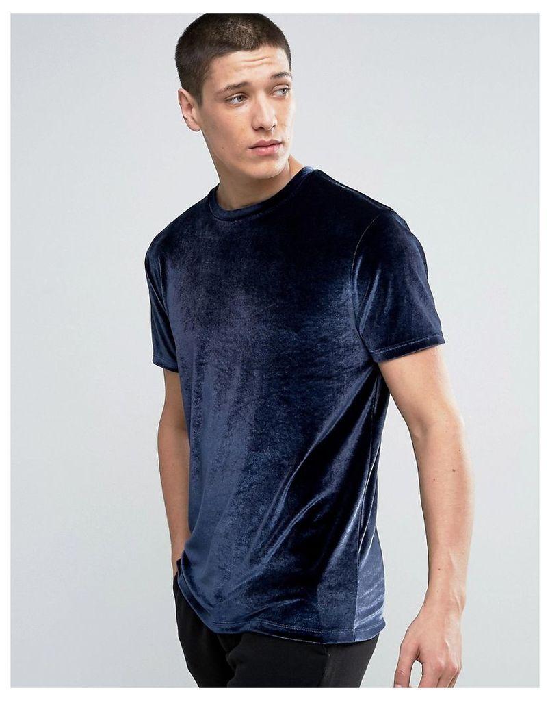 ASOS T-Shirt In Velour In Navy - Navy