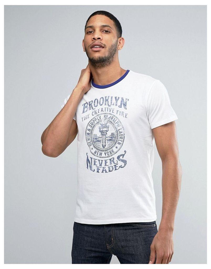 Denim & Supply Ralph Lauren Ringer T-Shirt Brooklyn Logo Regular Fit in White/Blue - White/blue