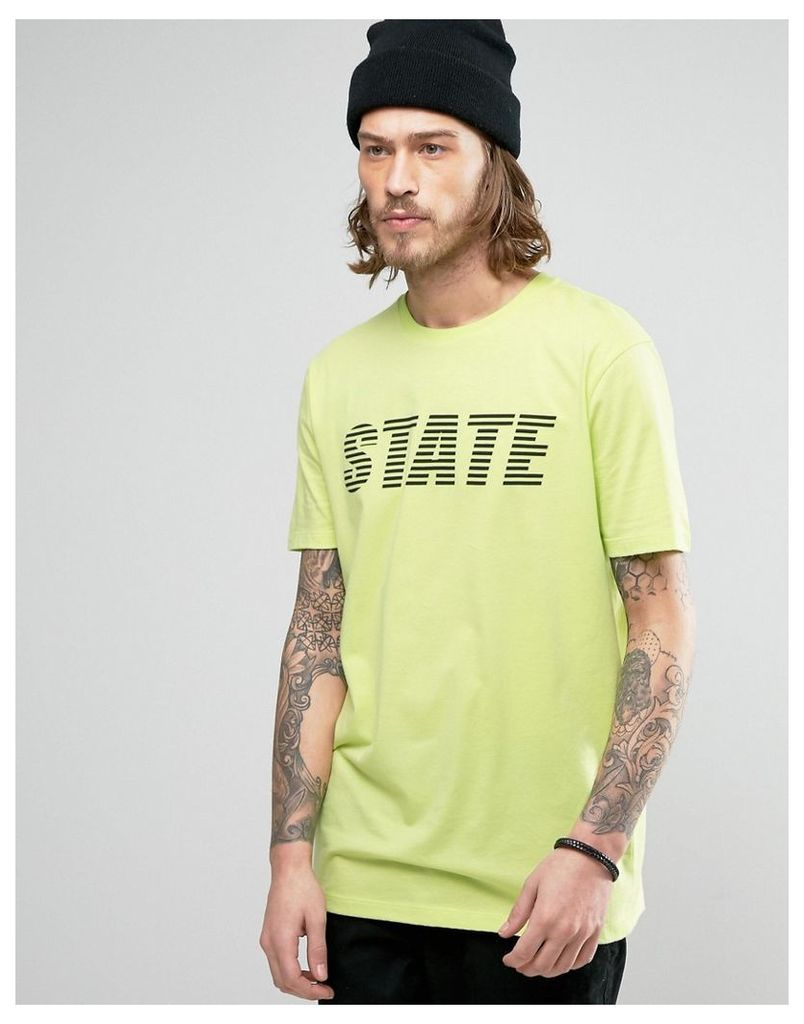ASOS Longline T-Shirt With State Print - Green