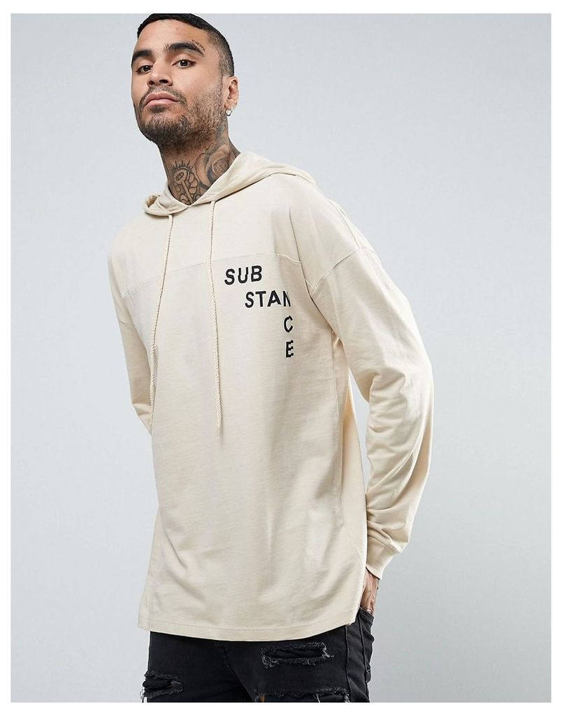 ASOS Dropped Shoulder Oversized Long Sleeve With Hood And Print - Beige