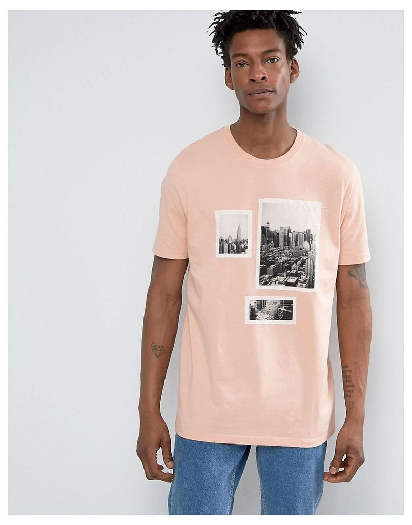ASOS Longline T-Shirt With Photo Applique - Peach